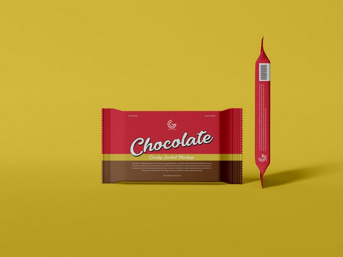 Chocolate Candy Sachet Mockup