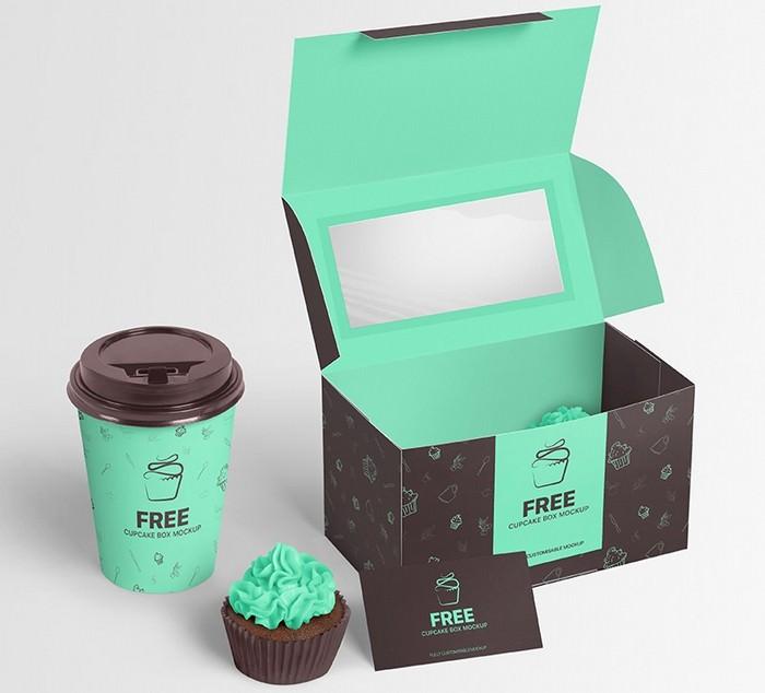 Cupcake Box Packaging Mockup PSD