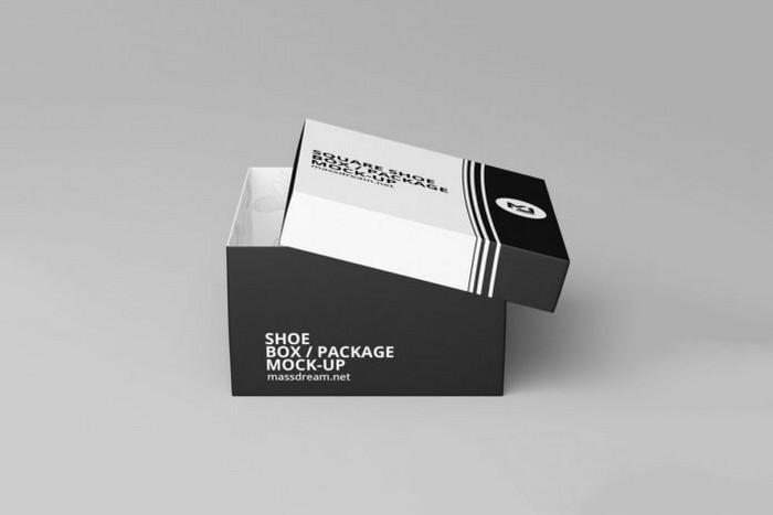 Free Square Shoe Box Package Mockup
