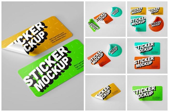 Glossy Sticker Mockup Set