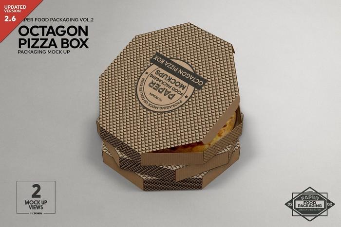 Octagon Pizza Box Packaging Mockup