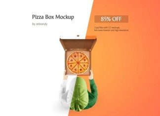 Pizza Box Mockup - 2 PSD