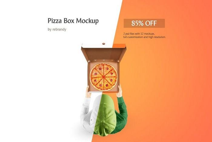 Pizza Box Mockup - 2 PSD
