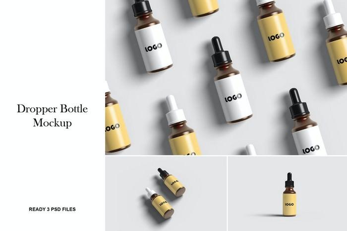 Realistic Dropper Bottle Mockup
