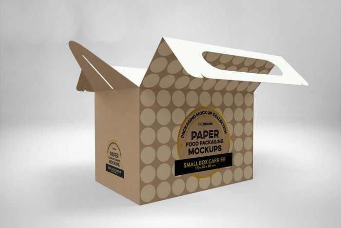 Small Cake Box Carrier Packaging Mockup