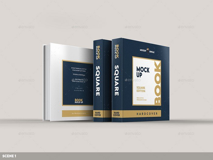 Square Book Mock-Up (Hardcover) - 8 scenes