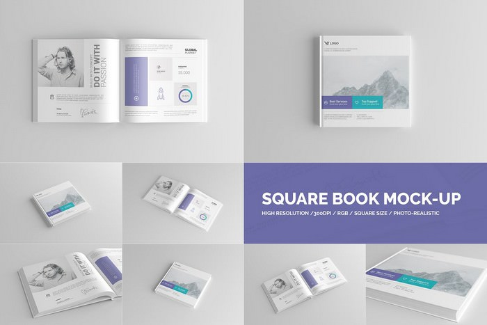 Square Book Mock-Up Hardcover
