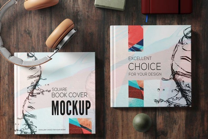 Square Book Mockup Set