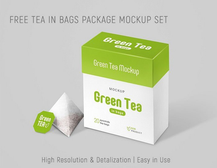 Tea In Bags Package Mockup Set