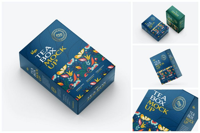 Tea Box Packaging Mockup Set