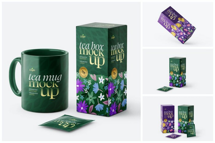 Tea Box and Tea Bag Mockup Set