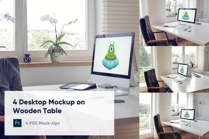 4 Desktop Mockup - Office Workspace