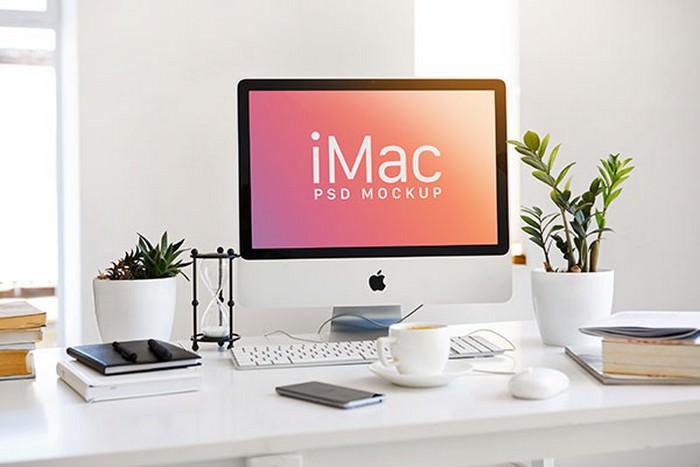 Apple iMac Workspace Mockup PSD