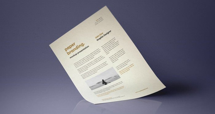 Psd A4 Paper Resume Mock-Up Vol7