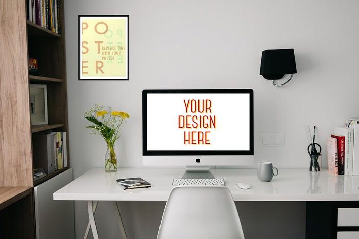 iMac and Photo Frame Workspace Mockup