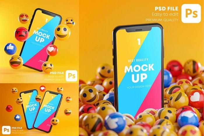 Smartphone Emoji Mockup Pack