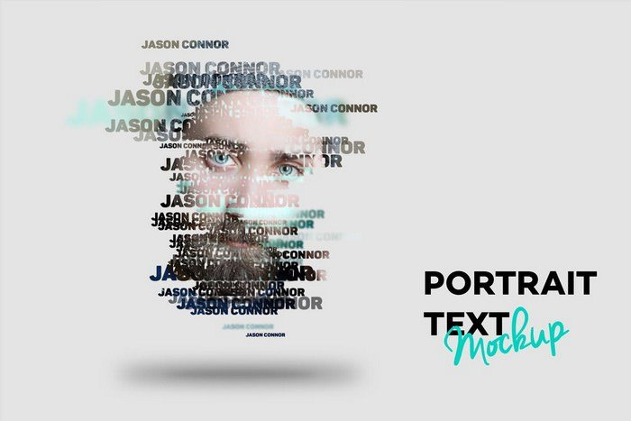 Text Portrait Mockup