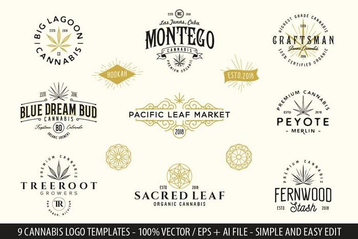 9 Modern Vintage Cannabis Logos III