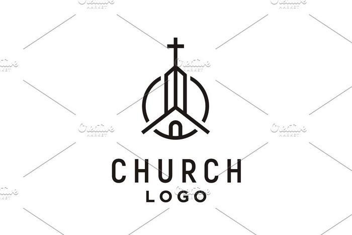 Church Building & Cross Tower Logo