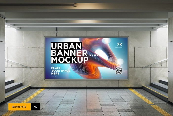 City Lightbox Banner Mockup in Subway