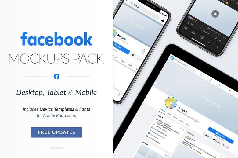 Facebook Mockup PSD- Desktops, Tablets & Mobile