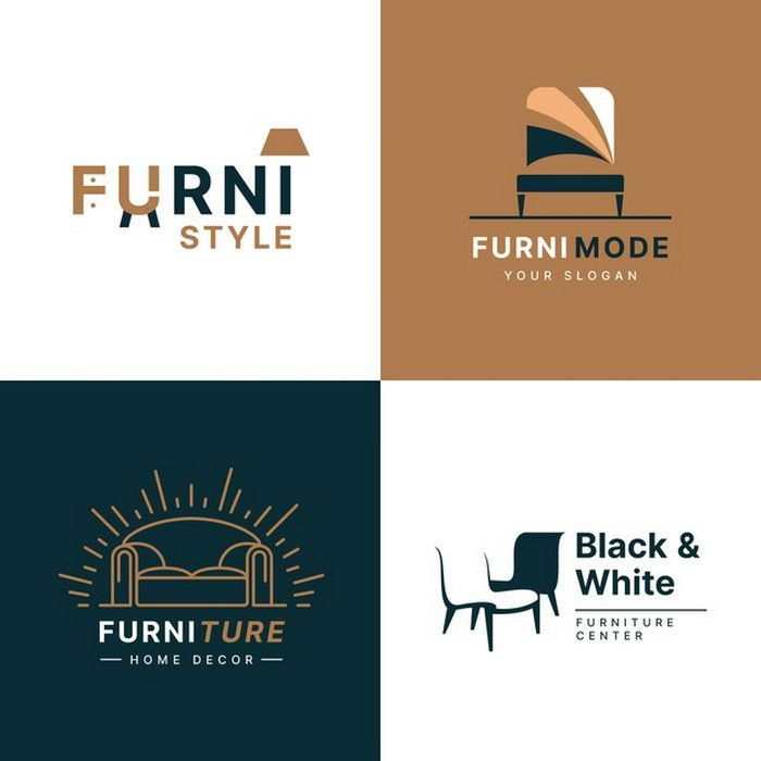 Furniture logo collection Free Vector