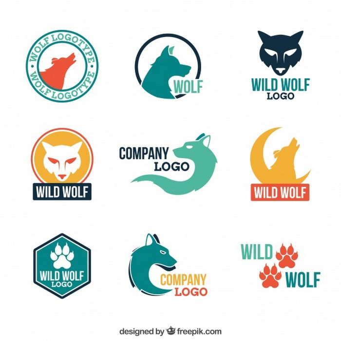 Modern Colorful Wolf Logo Collection