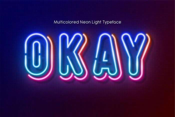 Multicolored Neon light alphabet
