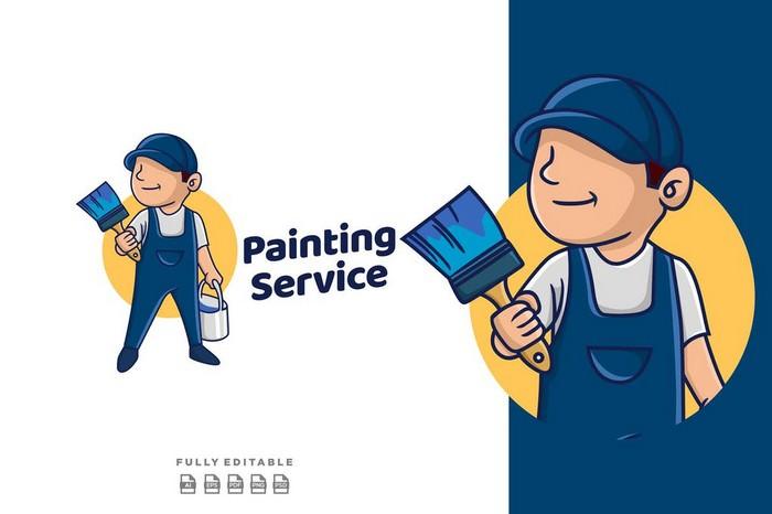 Painting Service Mascot Retro