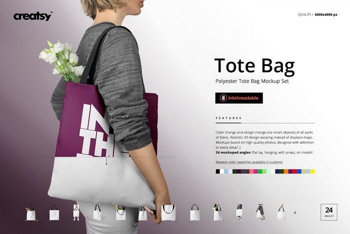 Polyester Tote Bag Mockup Set
