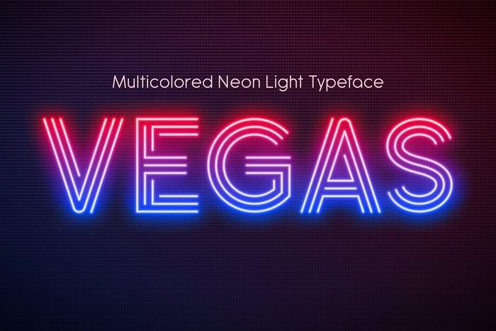 Realistic Neon Light Alphabet