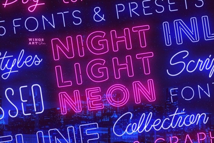 Retro Neon Font Collection