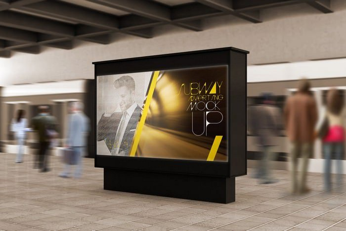 Subway Advertising Mockups With People Rush