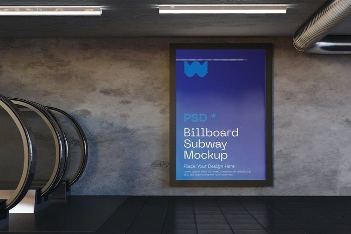 Vertical Subway Advertisement Mockup