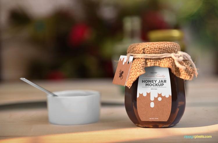 Beautiful Honey Packaging Jar Mockup