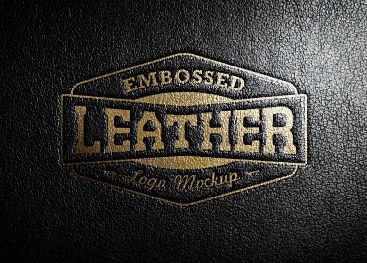 Embossed Stamp Logo Mockup With Leather effect
