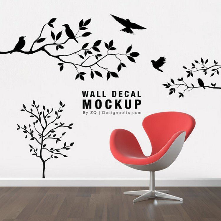 Free Decorative Wall Sticker Mockup