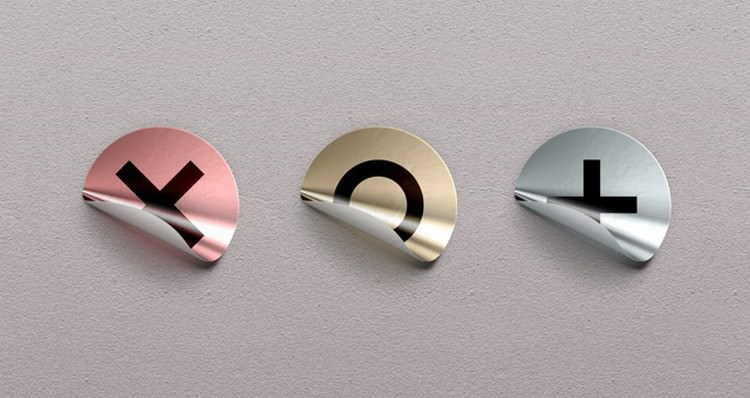 Free Foil Sticker Branding Mockup PSD