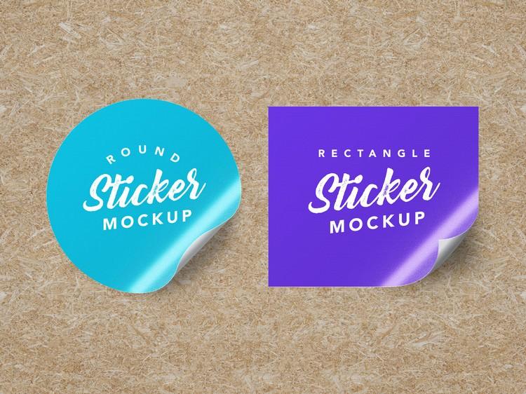 Round & Rectangle Sticker PSD Mockup