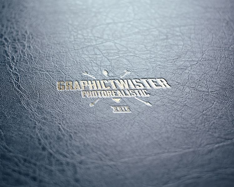 Leather Stamp Logo Mock-up With Gold Effect