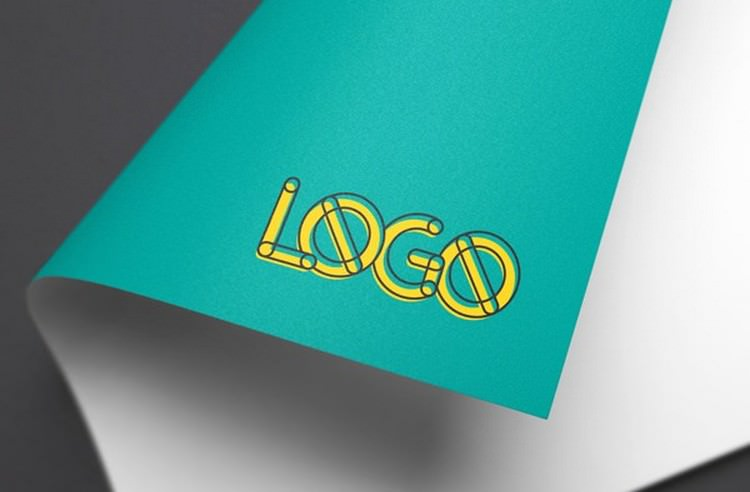 Photorealistic Colorful Paper Logo MockUp