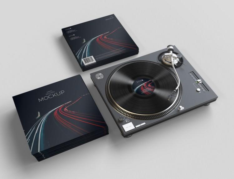 Realistic Vinyl Record Mockup PSD Template