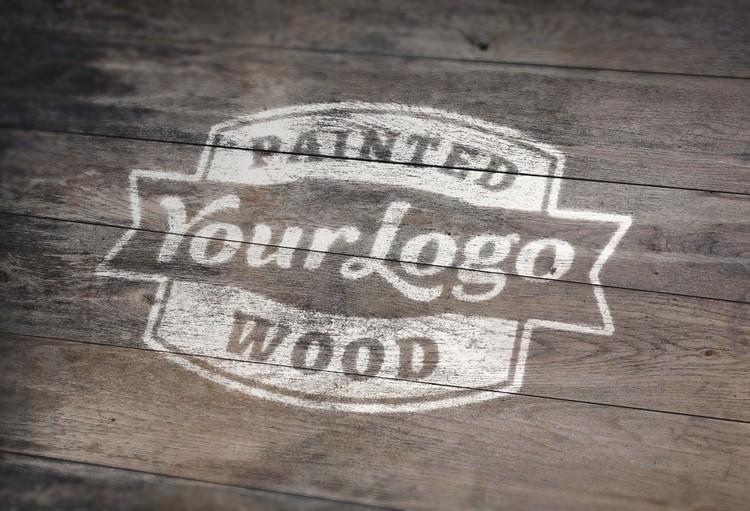 Realistic Wooden Logo Mockup With Paint Effect
