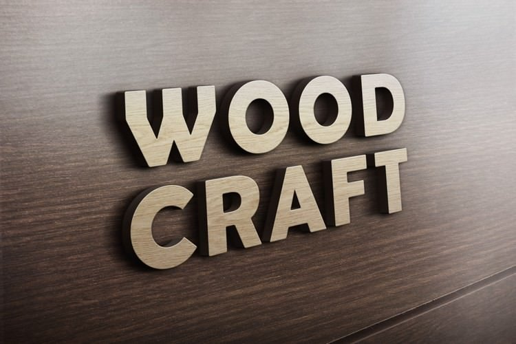 Woodcraft Logo Mockup With 3D Effect