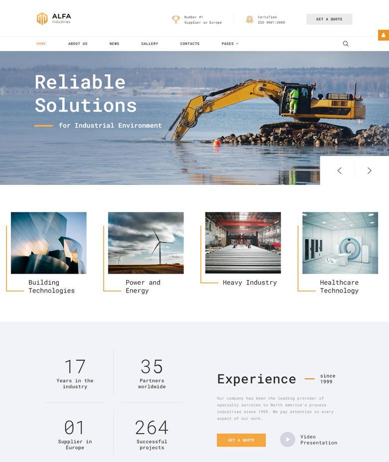 ALFA Industries - Industrial Clean Professional Joomla Template
