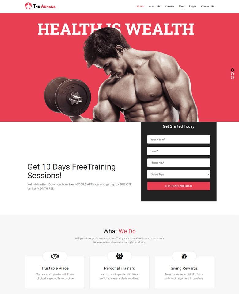 Akhada - Gym & Fitness WordPress theme