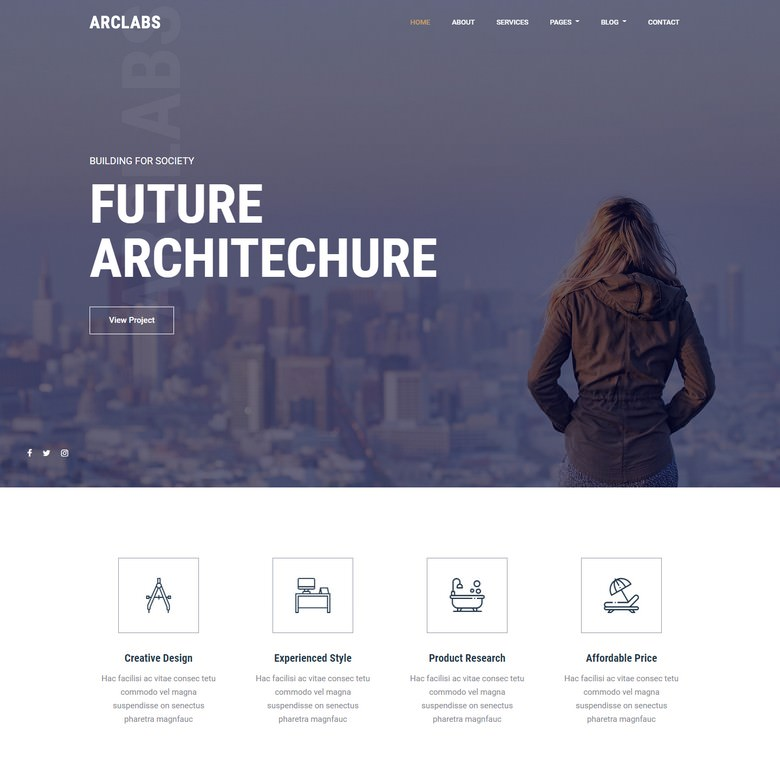 Arclabs - Free Bootstrap 4 Architecture Website Template