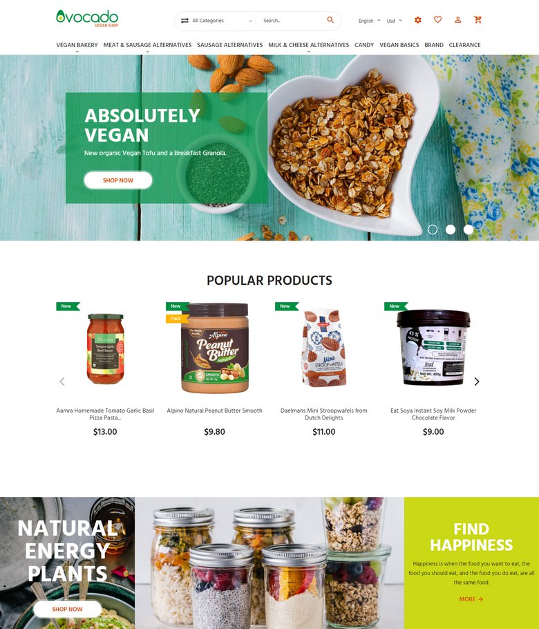 Avocado - Vegetarian Store PrestaShop Theme