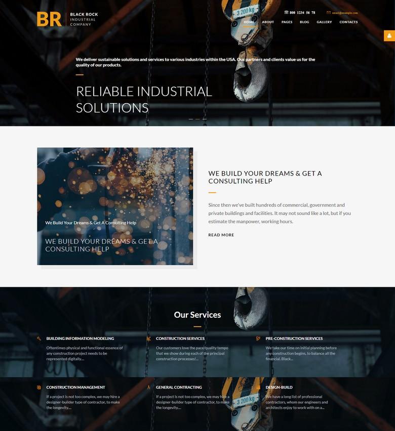 Black Rock - industrial company professional parallax template for Joomla