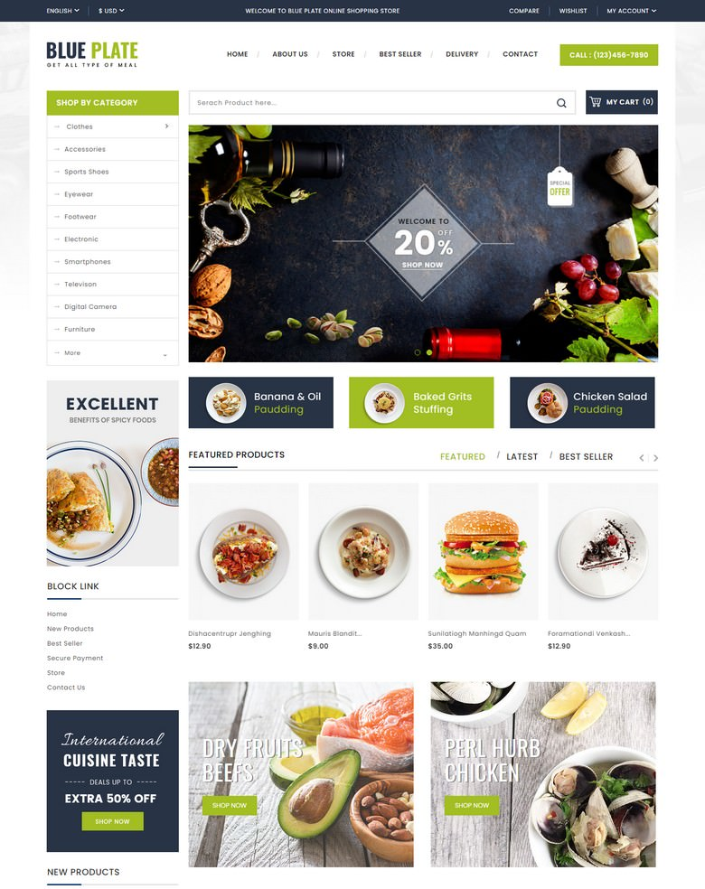 Blue Plate - Food Store Template